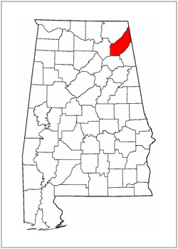 Map of Alabama / DeKalb County