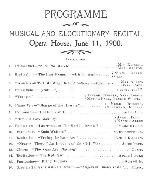 An old Opera House Program from June 11, 1900