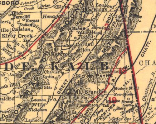 Map prepared by Rand McNally for the Railroad Commission of the State of Alabama in 1900. Courtesy of The Alabama Department of Archives and History, Montgomery, Alabama. Pea Ridge is at the top center of the map, Chavies is in the center and Binge's Creek is SE of the 'M' in Raccoon Mountain (another name for Sand Mountain).