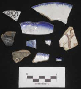 Ceramic artifacts excavated at the site.