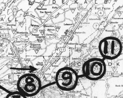 The route of Streight:'s MuleBrigade near DeKalb County. Some of the battles between Col. Streight and Gen. Forrest are circled. From the University of	Alabama map library and the Alabama Department of Archives