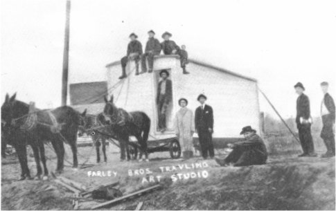 Farley Bros. Traveling Studio on its way to Crossville in early 1900's. W.B. Farley is in  the center (in dark suit). Walter Farley is on his left.