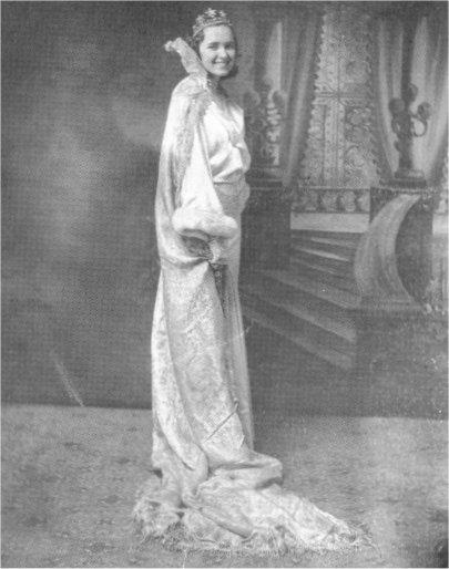 Miss DeKalb High School of 1933, Willodean Emmett (Mrs. Walter Lipps) was photographed against elaborate backdrop at Farley Studio.