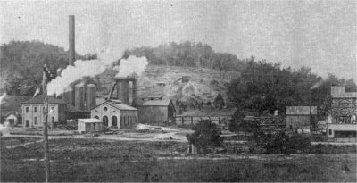 Furnace at the south end of town. Ore mine is directly behind the furnace and the trestle of the Fort Payne and Eastern Railroad is on the right side.