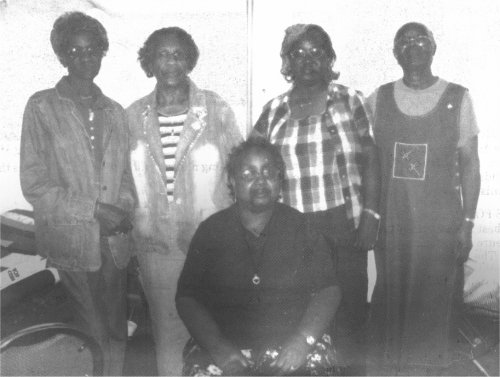 The Gee's Bend Quilters: Ruth Lee Kennedy, Nancy Brown, Mary Ann Pettway, Revil Mosely. Sitting: Nancy Pettway