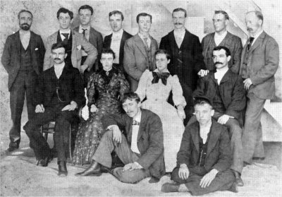 Group of New England House boarders in 1890. Man on right in top row is Frederick W. Blanchard.