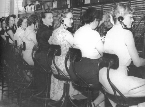 A 1950 photograph of the operators on the second floor of the Sawyer Building: (from left) Pauline Baker Burt Benefield, Charlsie Lyons Shipp, Doris Harper Richards, Eda Mae Culpepper Anderson, Nell Gibson, Jo Ann Stewart Ford, Lorene Pertree Eberhart, Jewel Casey Jones, and Margie Horton Murdock.