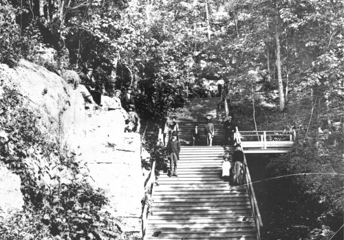 The approach to Manitou Cave, which was developed by Fort Payne Coal and Iron Company in 1888 as an attraction. During the boom the beautifully landscaped park and candlelit ballroom were favorite meeting places for picnics and dances.