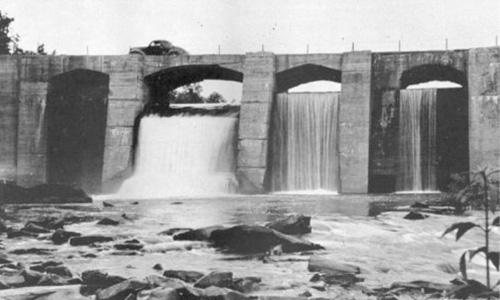 The bridge at LaHousage crossing Little River.