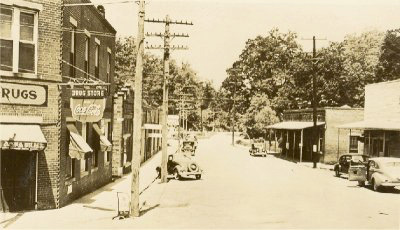An early Valley Head street scene. <em>Valley Head</em>, Alabama was established in 1922.