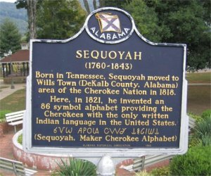 Historical marker commemorating Sequoyah's invention of the Cherokee alphabet in Willstown.