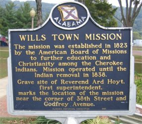 Historical marker commemorating the Willstown Mission.
